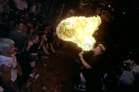 Jerry A (Poison Idea) at CBGB's, NYC, August 4, 2002. (Photo by Carl Gunhouse)
